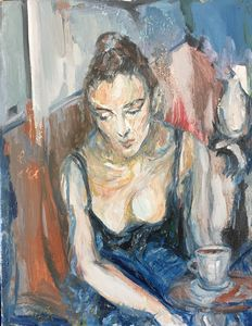 In Cafe Wondering... - Gina Son's Iconic 80's Image Art
