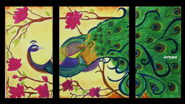 Peacock - triptych - Fun with Arts!