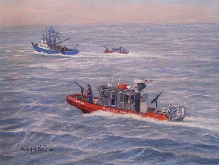 Coast Guard in pursuit - RaVell Fine Art Studio