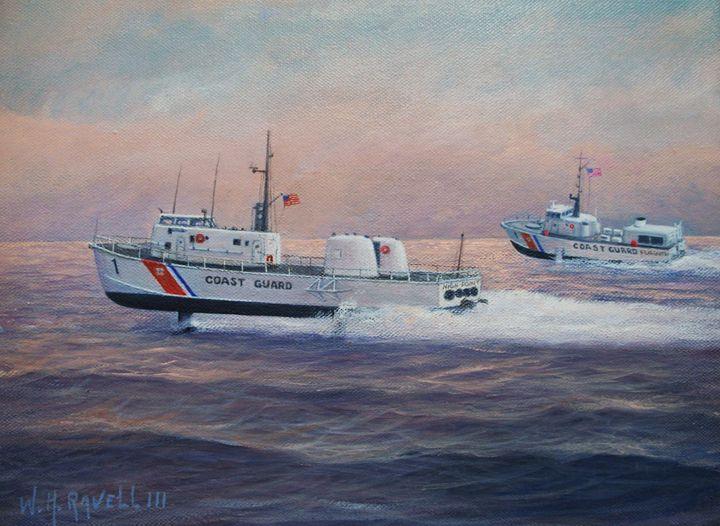 Coast Guard Testing Hydrofoils Flags - RaVell Fine Art Studio