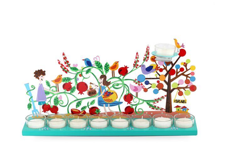 Pomegranate Menorah Candle Holder - Tzuki Design
