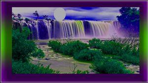 View of Waterfalls in the Dark Night