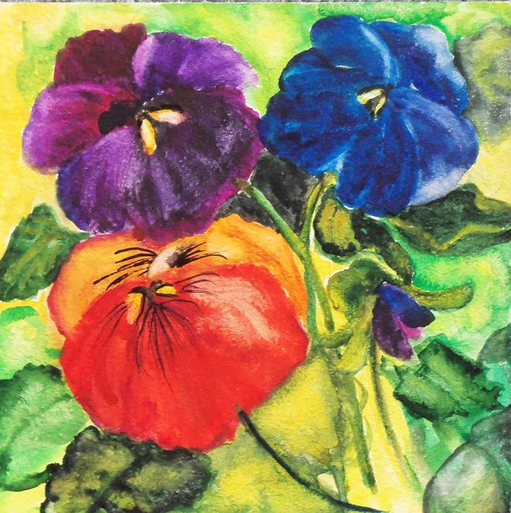 Three Bright Pansies - artbymarsha