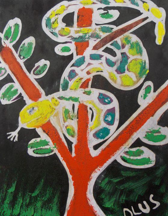 Yellow head snake on the tree - JoshuaArtBatikStudio