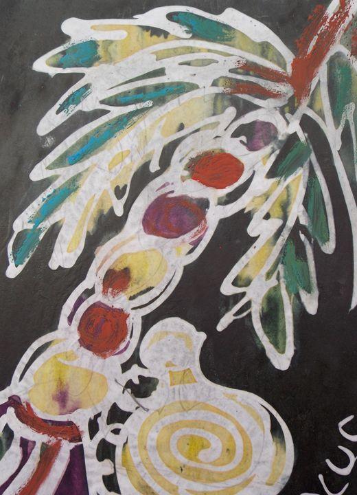 Palm tree and keg of palm wine - JoshuaArtBatikStudio