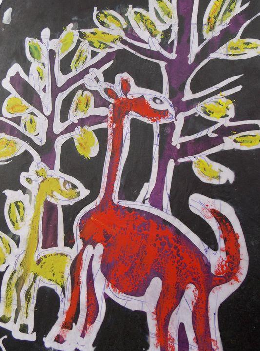 Animals in bush eating yellow leaf - JoshuaArtBatikStudio