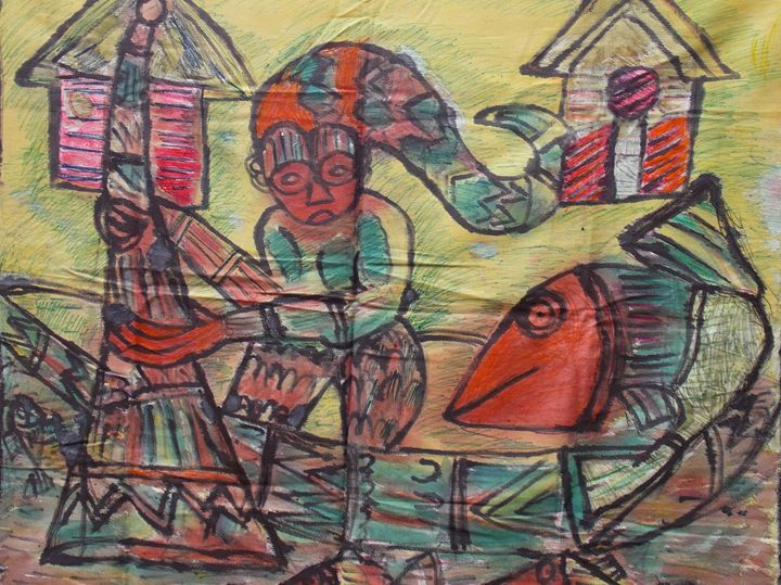 Pen and ink man on inside the canoe - JoshuaArtBatikStudio
