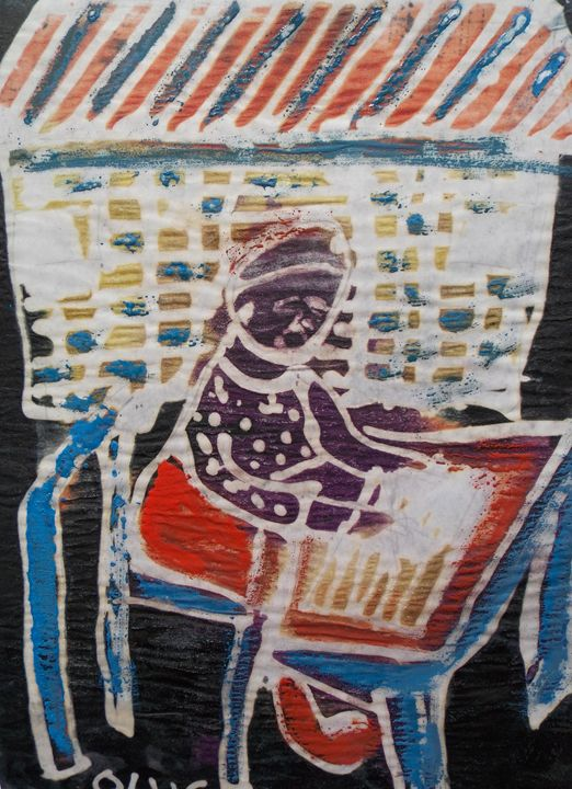 Woman is reading on the table - JoshuaArtBatikStudio