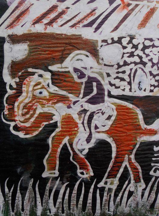 Horseman meet his friend in the town - JoshuaArtBatikStudio