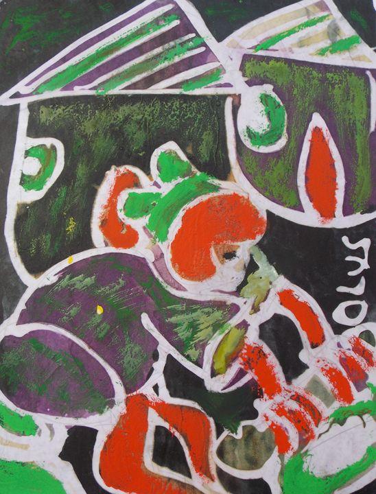 Child art displaying with object - JoshuaArtBatikStudio