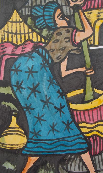 Woman pounding yam for her children - JoshuaArtBatikStudio