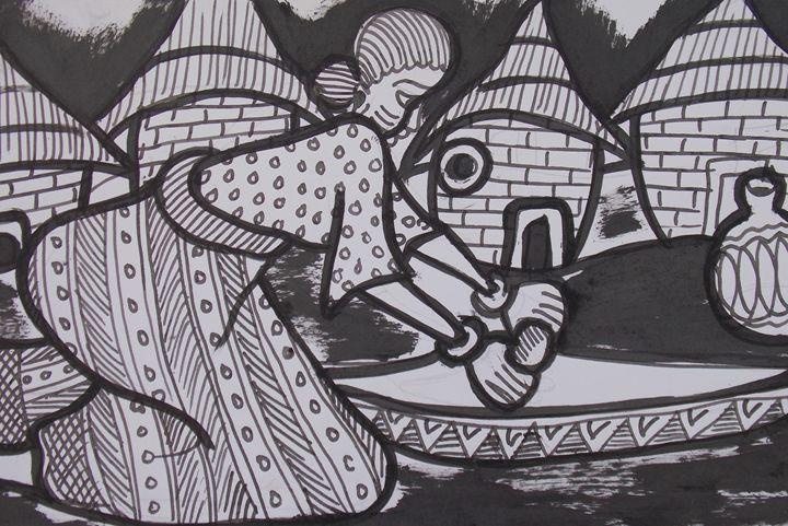 Lady grinding of white pepper - JoshuaArtBatikStudio