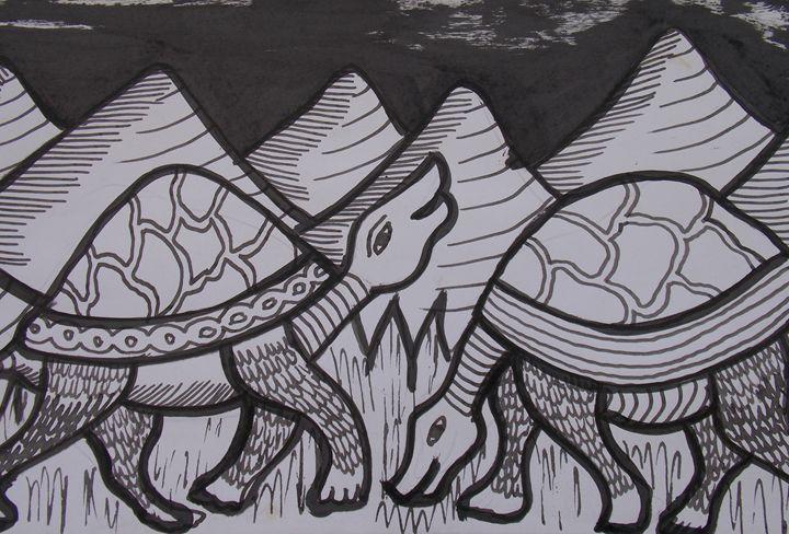 Tortoise in the wilderness eating - JoshuaArtBatikStudio