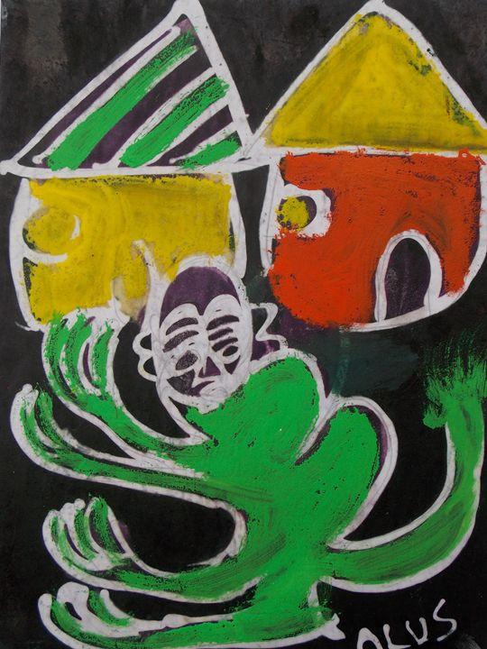 Green Monkey in the village - JoshuaArtBatikStudio