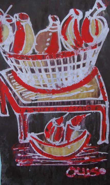 Painted fruits inside the basket - JoshuaArtBatikStudio