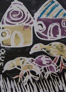 Cock searching food to eat - JoshuaArtBatikStudio