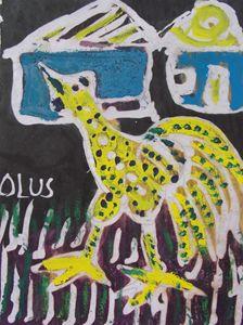 Black dotted yellow cock - JoshuaArtBatikStudio