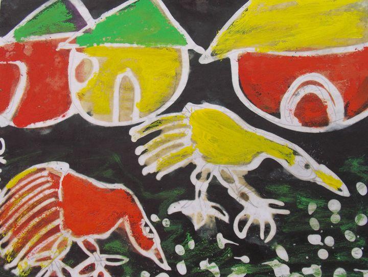Domestics hen, cock eating food - JoshuaArtBatikStudio