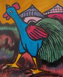 Cock crow in the village - JoshuaArtBatikStudio