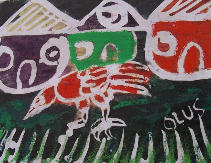 Red Cock in the village - JoshuaArtBatikStudio