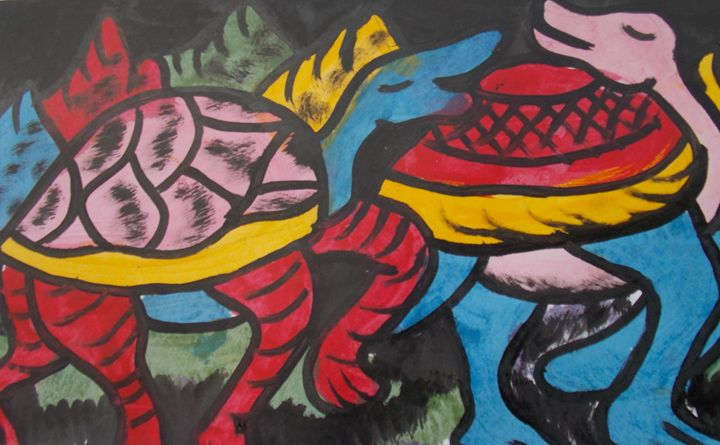 Two friends tortoise in the bush - JoshuaArtBatikStudio