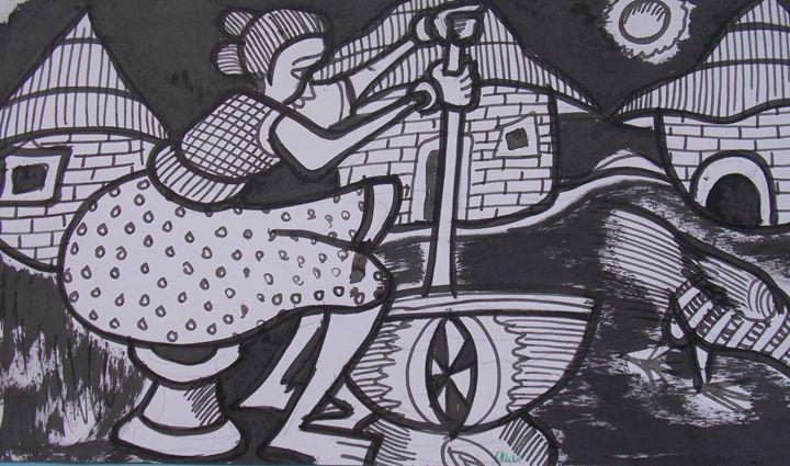 Village scene with woman sitting - JoshuaArtBatikStudio