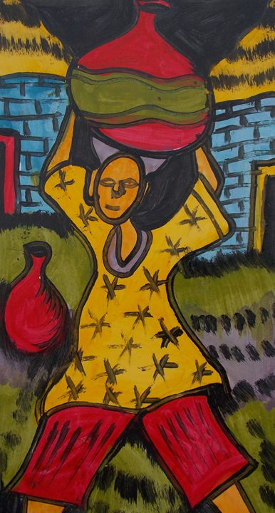 Boy carry the keg of palm wine - JoshuaArtBatikStudio