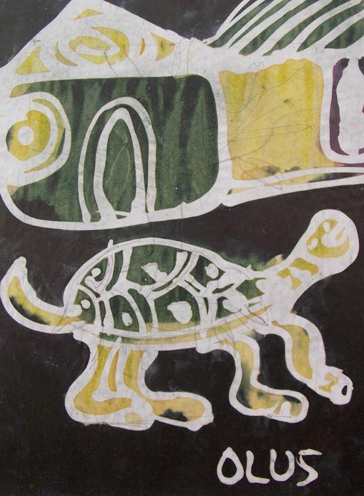 Tortoise going to the bush - JoshuaArtBatikStudio