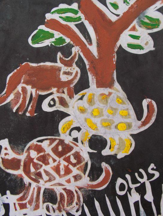 Tortoise and animal in the bush - JoshuaArtBatikStudio