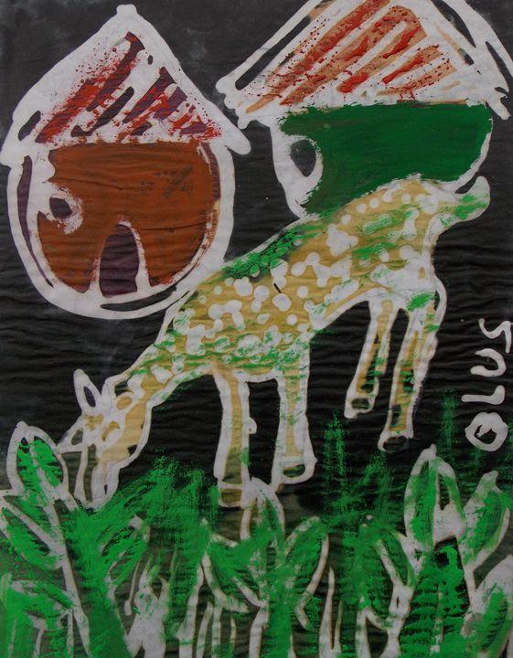 She goat eating grassess - JoshuaArtBatikStudio