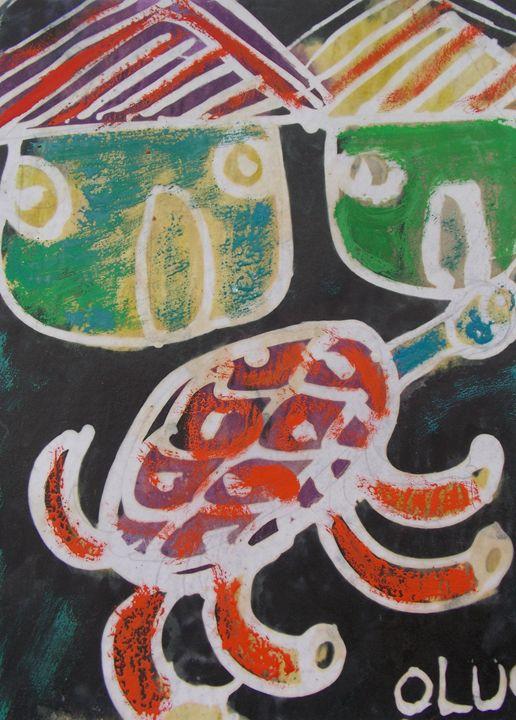 Reddish tortoise in the house - JoshuaArtBatikStudio