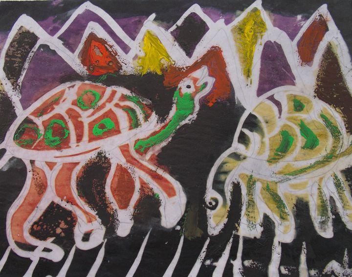 Painted tortoise on the rock - JoshuaArtBatikStudio