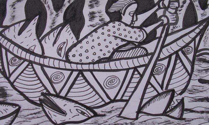 Boatman on the sea looking for fish - JoshuaArtBatikStudio