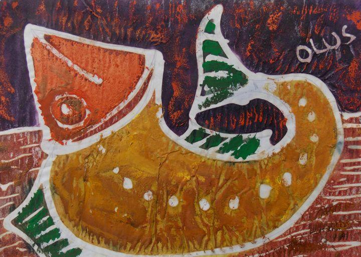 Brown Fish inside the sea - JoshuaArtBatikStudio