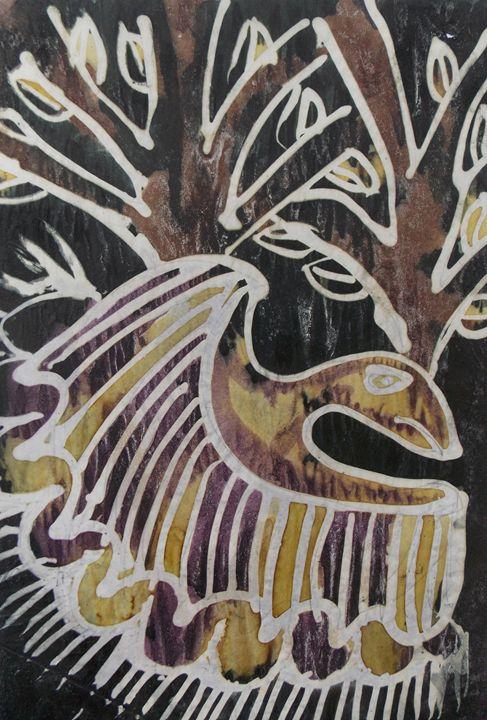 Flying design bird near tree - JoshuaArtBatikStudio