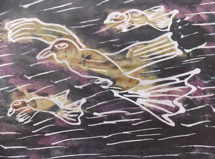 Flying bird on the sea - JoshuaArtBatikStudio