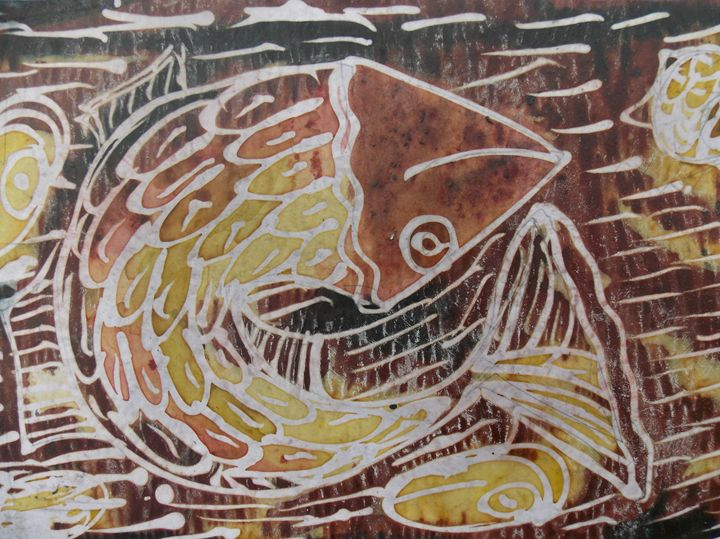 Swimming  brown fish inside the sea - JoshuaArtBatikStudio