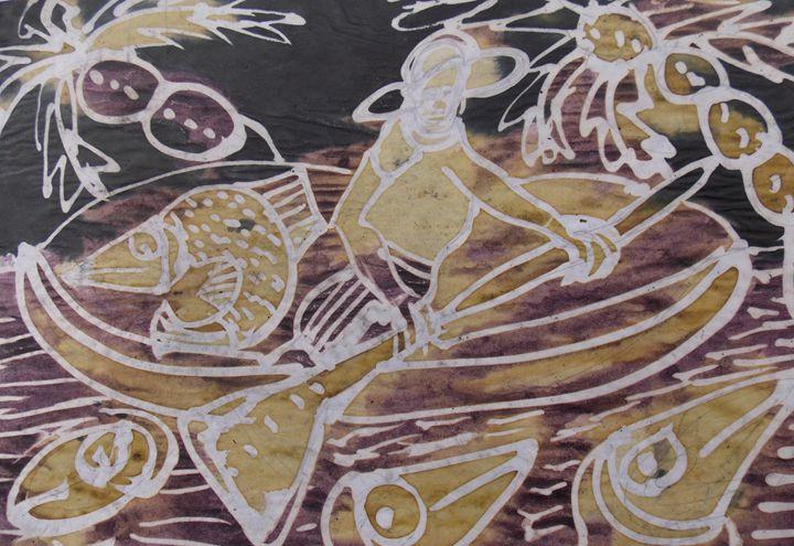 Brown canoe man on the sea - JoshuaArtBatikStudio