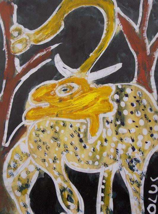 Yellow Elephant Standing - JoshuaArtBatikStudio