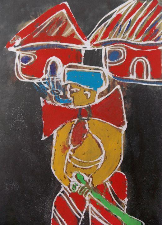 Jester in the town with cutlass - JoshuaArtBatikStudio