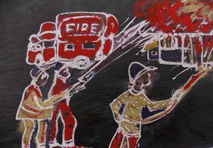 Fireman are killing burning house - JoshuaArtBatikStudio
