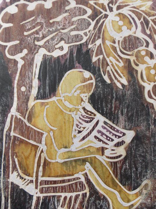 Student reading inside the rain - JoshuaArtBatikStudio