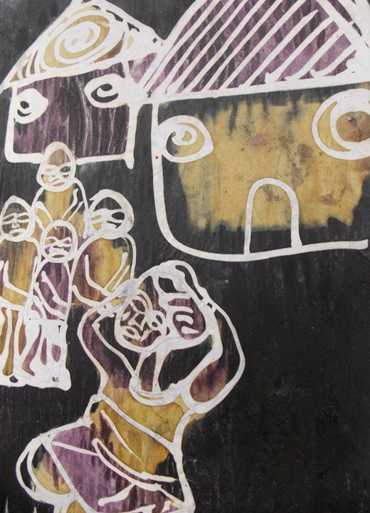 Woman crying in the village - JoshuaArtBatikStudio