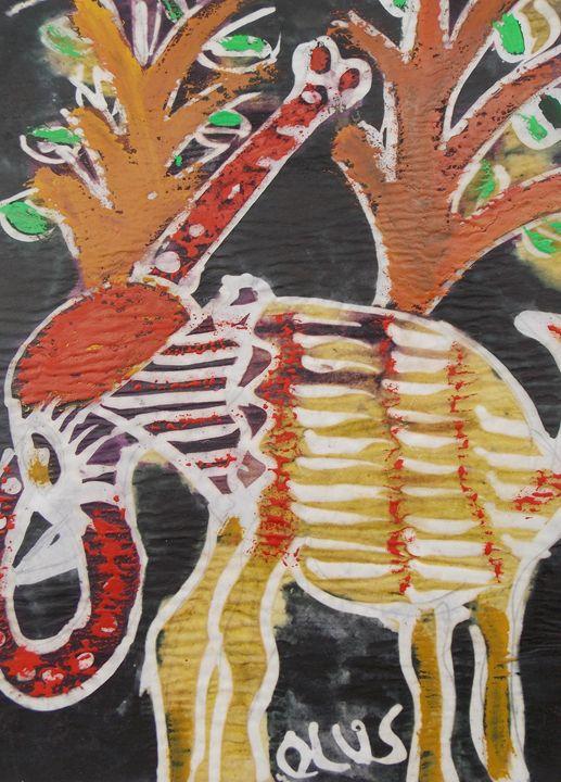 Yellow elephant in the bush - JoshuaArtBatikStudio