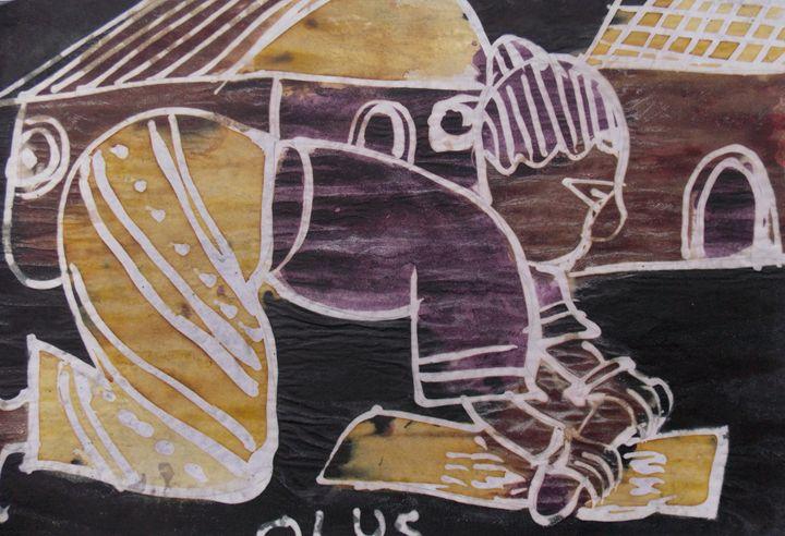 Woman grinding pepper - JoshuaArtBatikStudio