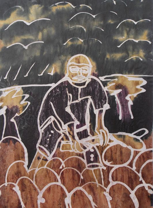 Farmer making ridges in the farm - JoshuaArtBatikStudio