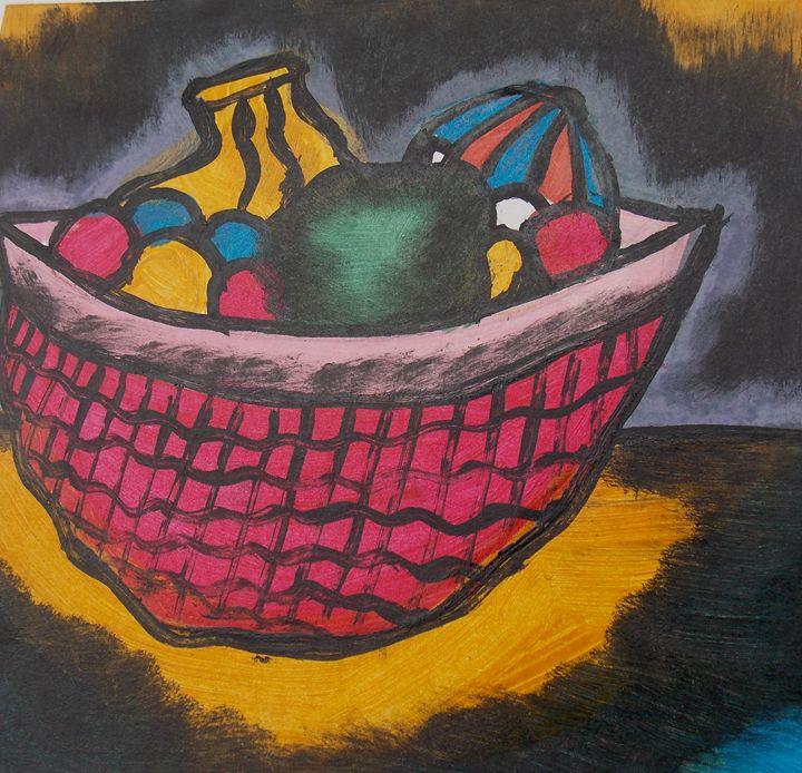 Plenty of fruits inside the basket - JoshuaArtBatikStudio