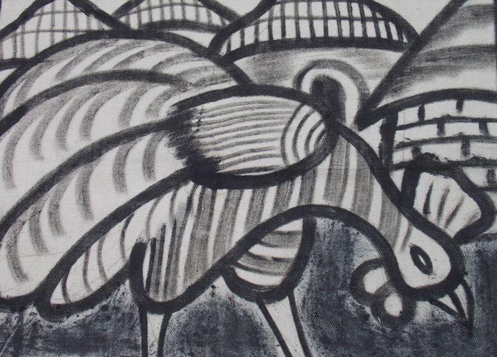 Domestic hen in the village - JoshuaArtBatikStudio