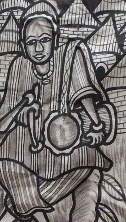 Drummer boy in the village display - JoshuaArtBatikStudio