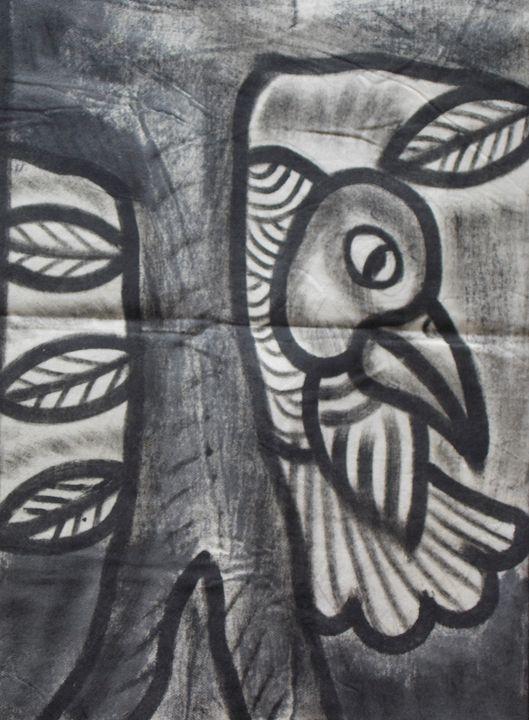 Eagle bird resting on the tree - JoshuaArtBatikStudio